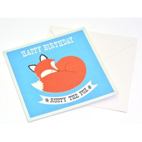1 carte anniversaire + enveloppe Rusty the fox