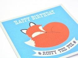 "1 birthday card + envelope - ""Rusty the Fox"""