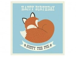 1 carte anniversaire + enveloppe Rusty the fox