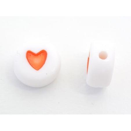 20 perles coeurs - plastique