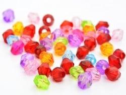 50 perles à facettes en plastique 4 mm- multicolore