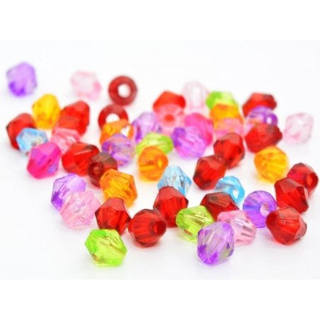 50 bevelled plastic beads, 4 mm - mutiple colours