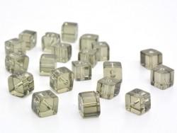 20 perles cubes en plastique 4 mm- gris