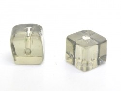20 plastic cube beads, 4 mm - grey
