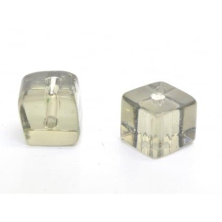 20 plastic cube beads, 4 mm - grey