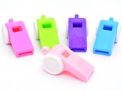 5 Plastikpfeifen - aufeinander abgestimmte Farben