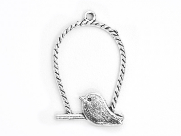 1 bird cage (with braided cords) charm - dark silver-coloured