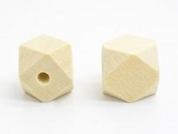 10 perles géométriques en bois - 12 mm