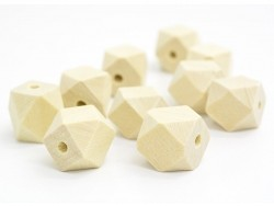 10 geometric wooden beads - 12 mm