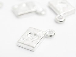 1 ace playing card charm - light silver-coloured