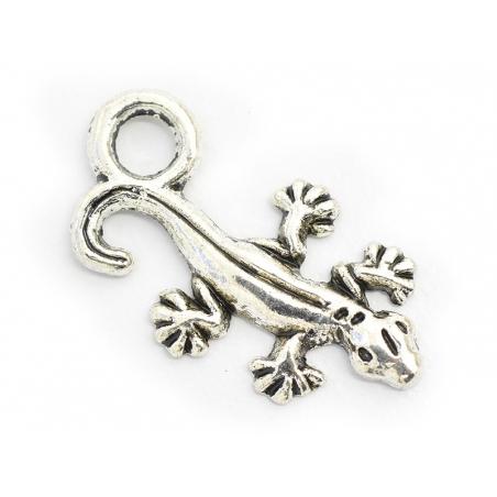 1 breloque salamandre -  argenté foncé