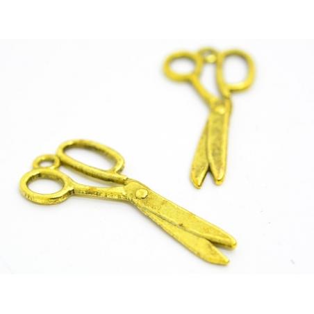 1 scissors charm - gold-coloured