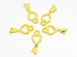 1 small love key charm - gold-coloured