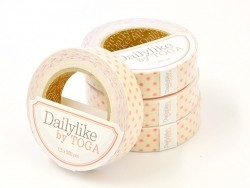 Fabric tape - offwhite with pink dots
