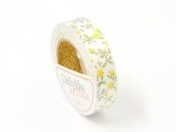 Fabric tape - Green and yellow flowers