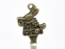 "1 bronze-coloured ""Alice in Wonderland"" rabbit charm"
