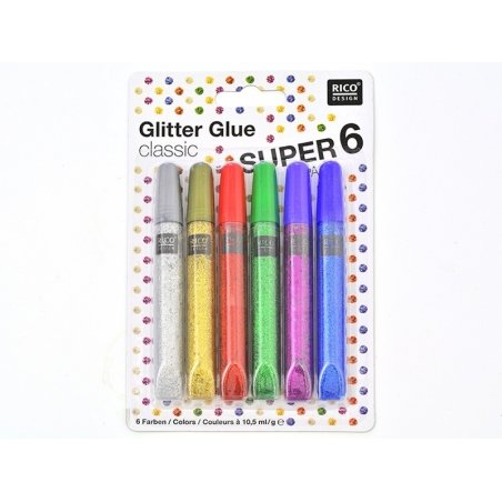 Acheter Lot de 6 stylos colle paillettes - glitter glue - couleurs métalliques - 4,90€ en ligne sur La Petite Epicerie - Loi...