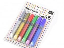 Lot de 6 stylos colle paillettes  - glitter glue - couleurs métalliques  - 3