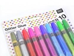 Set mit 10 Klebeglitzerstiften - Glitter Glue - Metallicfarben