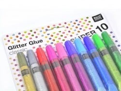 Set with 10 glitter glue pens - metallic / classic colours