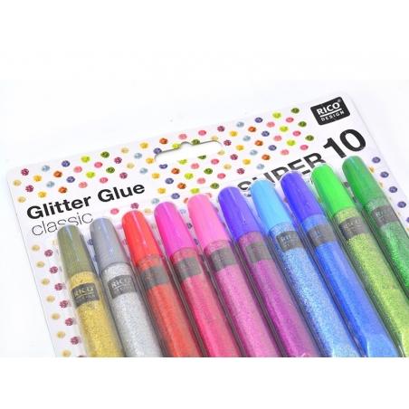 Set of 10 glitter glue pens - metallic / classic colours