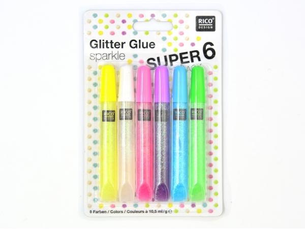 Lot de 6 stylos colle paillettes - glitter glue -  couleurs pop