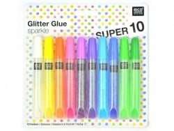 Lot de 10 stylos colle paillettes  - glitter glue - couleurs pop  - 1