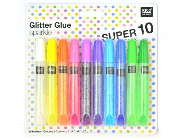 Acheter Lot de 10 stylos colle paillettes - glitter glue - couleurs pop - 7,30€ en ligne sur La Petite Epicerie - Loisirs cr...