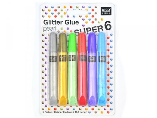 Set of 6 glitter glue pens - pearlescent colours