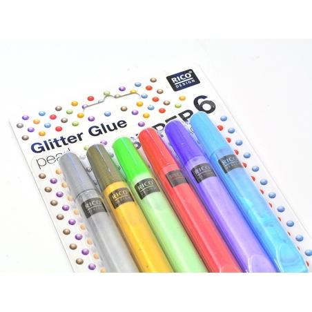 Lot de 6 stylos colle paillettes - glitter glue - couleurs nacrées  - 2