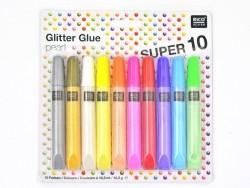 Set mit 10 Klebeglitzerstiften - Glitter Glue - Perlmuttfarben
