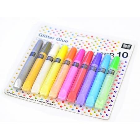 Lot de 10 stylos glitter glue - colle paillettes  - couleurs nacrées