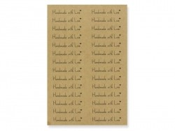 "112 kraft paper stickers bearing the words ""Handmade with Love"""