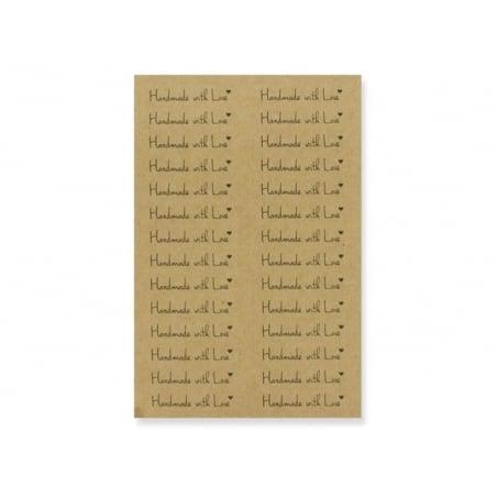 "112 étiquettes kraft autocollantes ""Handmade with Love""  - 1"