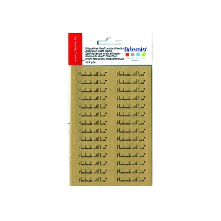 "112 étiquettes kraft autocollantes ""Handmade with Love""  - 2"