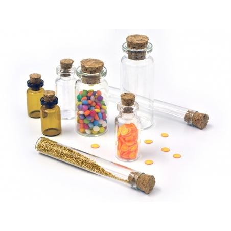 Set of 8 glass bottles