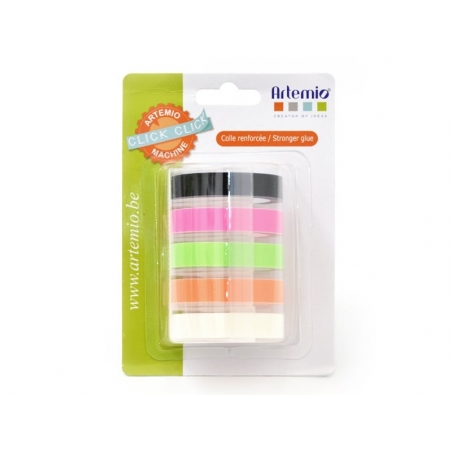 5 tapes for Click-Click label maker, 9 mm x 2 m - neon
