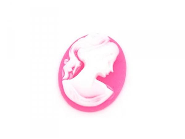 Neon pink cabochon cameo