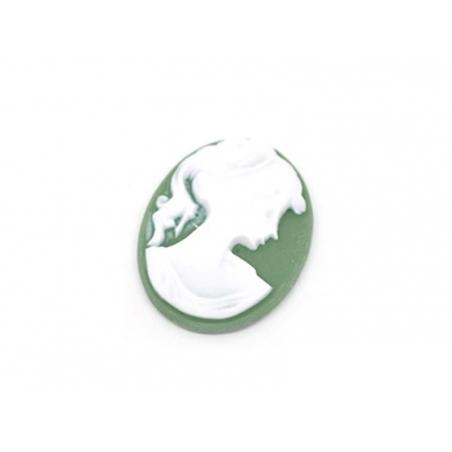 Green cabochon cameo
