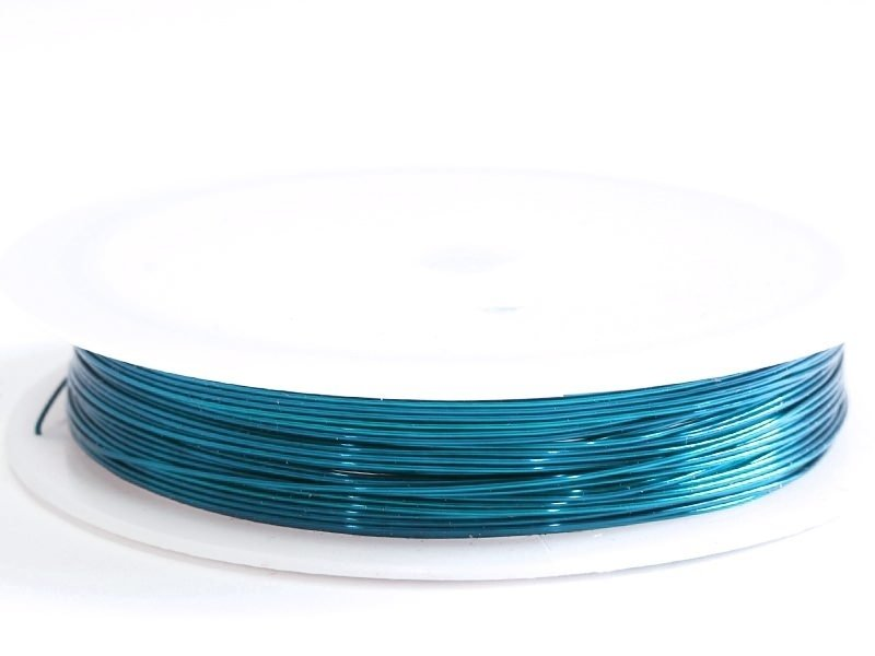 9 m of copper wire, 0.5 mm - peacock blue