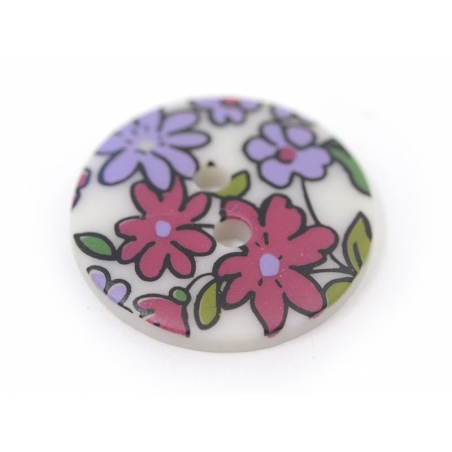 Round button with a floral print (18 mm) - Lucie - Plastic