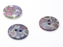 Bouton fleuri rond 18mm - Lucie - plastique