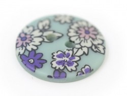 Round button with a floral print (18 mm) - Raphaël - Plastic