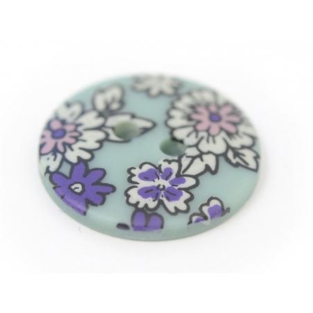 Bouton fleuri rond 18mm - Raphaël - plastique