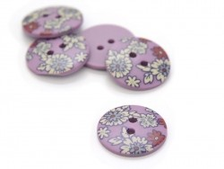 Round button with a floral print (18 mm) - Manon - Plastic
