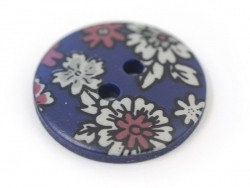 Round button with a floral print (18 mm) - Victor - Plastic