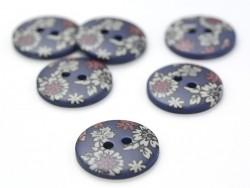 Bouton fleuri rond 18mm - Victor - plastique