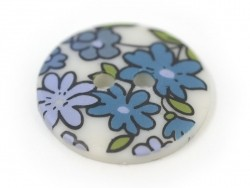 Round button with a floral print (18 mm) - Mathilde - Plastic