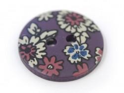 Bouton fleuri rond 18mm - Léo - plastique