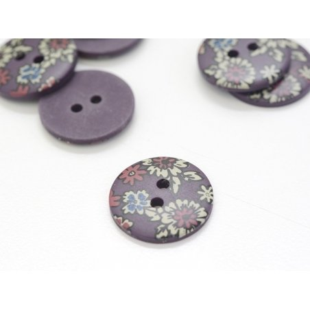 Round button with a floral print (18 mm) - Léo - Plastic